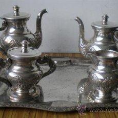 Antigüedades: JUEGO DE CAFÉ .. DE ALPACA CON LABRADO . Lote 15945118