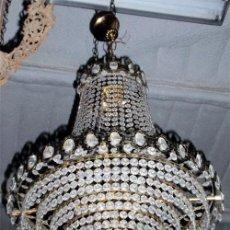 Antigüedades: LAMPARA DE CRISTAL Y LATÓN. MEDIDA 90X50CM. Lote 23348348