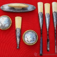 Antigüedades: BELLISIMO JUEGO DE MANICURA ART NOUVEAU EN PLATA Y MARFIL. Lote 16102167