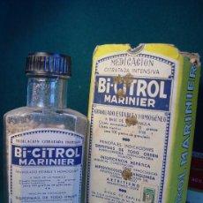 Antigüedades: BI-CITROL MARINIER - LABORATORIO BOIZOT . MADRID - REG. SANIDAD 1933 - FRASCO Y CAJA DE FARMACIA -. Lote 27598115
