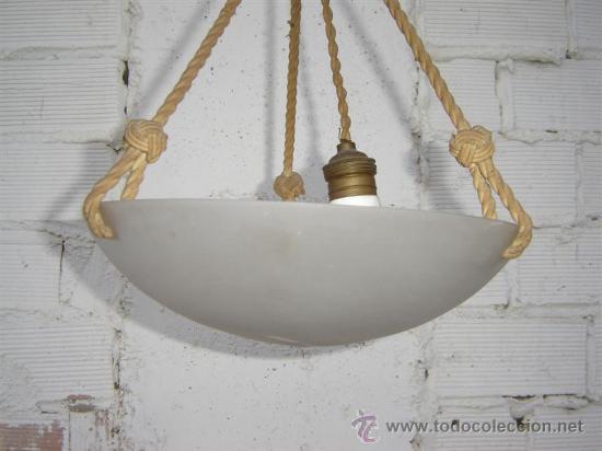 Antigüedades: lampara de cristal opalino - Foto 2 - 16243335