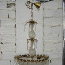 Antigüedades: LAMPARA DE BRONCE Y CRISTAL. Lote 16243367