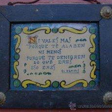 Antigüedades: CRISTAL ANTIGUO PINTADO CON LEYENDA. Lote 26610765