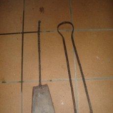 Antigüedades: PALA Y TENAZAS PINZAS PARA ESTUFA O CHIMENEA. Lote 27593532