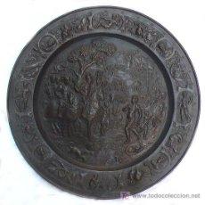 Antigüedades: PLATO DE LATÓN DE GALVANO, 1900'S APROX. 57 CM. DE DIÁMETRO.. Lote 20466562