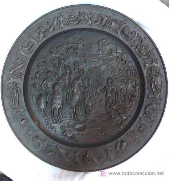 Antigüedades: Plato de latón de Galvano, 1900s aprox. 57 cm. de diámetro. - Foto 4 - 20466562