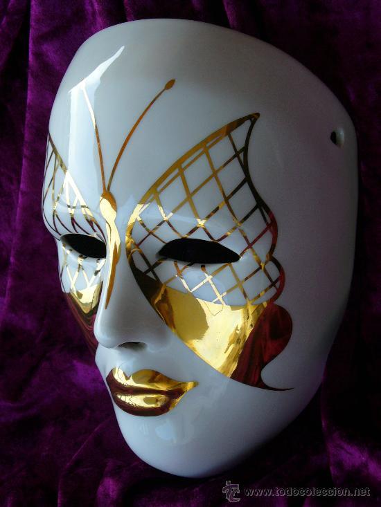 Mascara de porcelana blanca decorada con maripo comprar - Mascaras venecianas decoracion ...