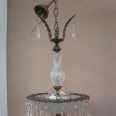 Antigüedades: LAMPARA EN BRONCE Y CRISTAL. Lote 16372216