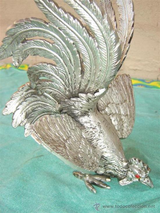 Antigüedades: 2 gallos de bronce plateado - Foto 2 - 16384717