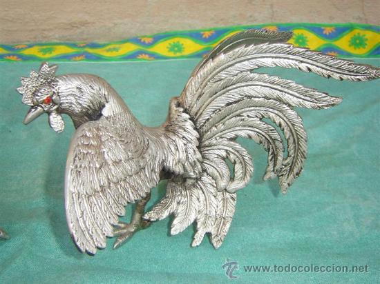 Antigüedades: 2 gallos de bronce plateado - Foto 3 - 16384717