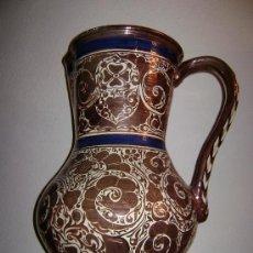 Antigüedades: GRAN JARRA DE MANISES EN REFLEJO METALICO. Lote 26935916