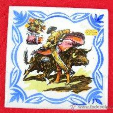 Antigüedades: AZULEJO TORO TORERO. Lote 16617818