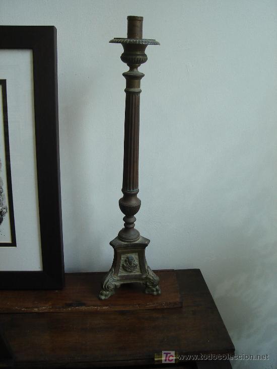 Antigüedades: candelabro hachero 53 cm de altura - Foto 3 - 26577222