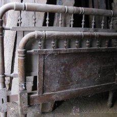 Antigüedades: CAMA DE BARROTES Y MARQUETERIA PRIMER CUARTO DEL S. XX. Lote 26603708