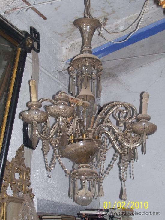 lampara de techo de cristal de seis brazos se entrega restaurada antigedades