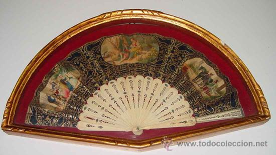 ANTIGUO ABANICO SIGLO XIX - VARILLAS DE HUESO O MARFIL, Y PAPEL PINTADO A MANO - EXCELENTE CONSERVAC (Antigüedades - Moda - Abanicos Antiguos)