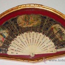 Antigüedades: ANTIGUO ABANICO SIGLO XIX - VARILLAS DE HUESO O MARFIL, Y PAPEL PINTADO A MANO - EXCELENTE CONSERVAC. Lote 26676870