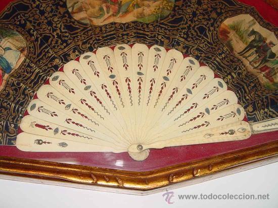 Antiguo abanico siglo xix varillas de hueso o comprar - Papel pintado a mano ...