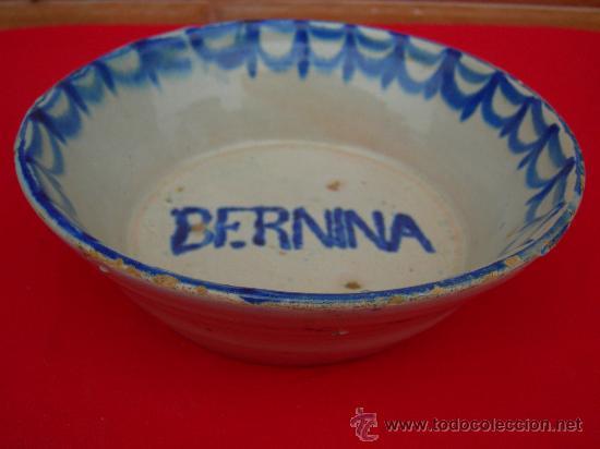 ANTIGUO CUENCO FUENTE DE FAJALAUZA BERNINA (Antigüedades - Porcelanas y Cerámicas - Fajalauza)
