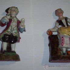 Antigüedades: PAREJA FIGURAS VIOLETEROS PORCELANA FRANCESA SIGLO XIX. Lote 26877116