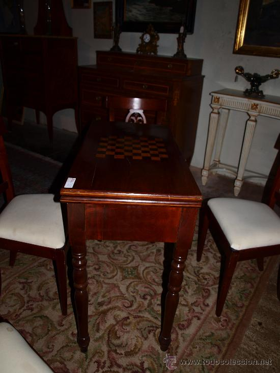 Antigüedades: Mesa de juego ajedrez y cartas - Foto 2 - 17211709
