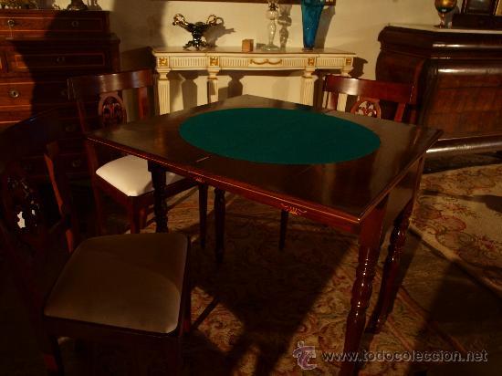 Antigüedades: Mesa de juego ajedrez y cartas - Foto 3 - 17211709