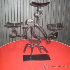 Antigüedades: CANDELABRO 3 BRAZOS HIERRO DE FORJA. Lote 17351296
