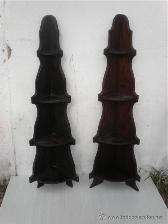 2 ESQUINERAS DE REPISAS MADERA (Antigüedades - Muebles Antiguos - Repisas Antiguas)