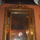 Antigüedades: ESPEJO DE MADERA POLICROMADO EN PAN DE ORO. Lote 27419177