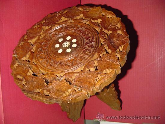Antigüedades: Pareja de mesillas orientales en madera e incrustaciones de hueso - Foto 2 - 27344276