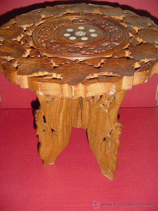 Antigüedades: Pareja de mesillas orientales en madera e incrustaciones de hueso - Foto 3 - 27344276