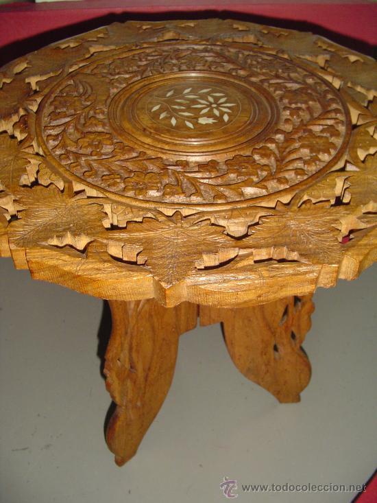 Antigüedades: Pareja de mesillas orientales en madera e incrustaciones de hueso - Foto 5 - 27344276