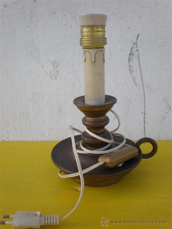 VELON EN LAMPARA DE BRONCE (Antigüedades - Iluminación - Lámparas Antiguas)
