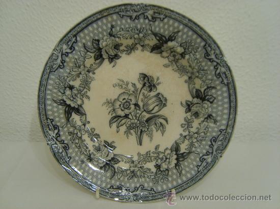 ANTIGUO PLATO LLANO DE PORCELANA INGLESA - 1848 (Antigüedades - Porcelanas y Cerámicas - Inglesa, Bristol y Otros)