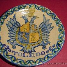 Antigüedades: PLATO PUENTE DEL ARZOBISPO TOLEDO. ESCUDO AGUILA CON CORONA Y TOISON. AÑOS 30.. Lote 21088348