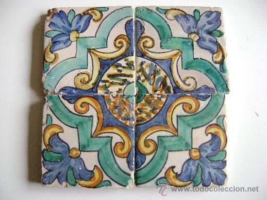 PANEL 4 AZULEJOS VALENCIA.SIGLO XVIII (Antigüedades - Porcelanas y Cerámicas - Azulejos)