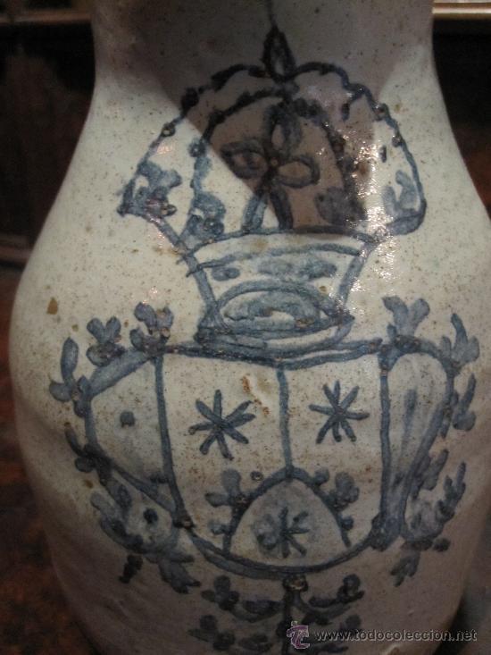 PRECIOSA JARRA DE TALAVERA DEL S. XVII, CON ESCUDO DE LA ORDEN CARMELITA (Antigüedades - Porcelanas y Cerámicas - Talavera)