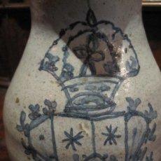 Antigüedades: PRECIOSA JARRA DE TALAVERA DEL S. XVII, CON ESCUDO DE LA ORDEN CARMELITA. Lote 17641200