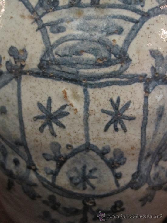 Antigüedades: PRECIOSA JARRA DE TALAVERA DEL S. XVII, CON ESCUDO DE LA ORDEN CARMELITA - Foto 8 - 17641200