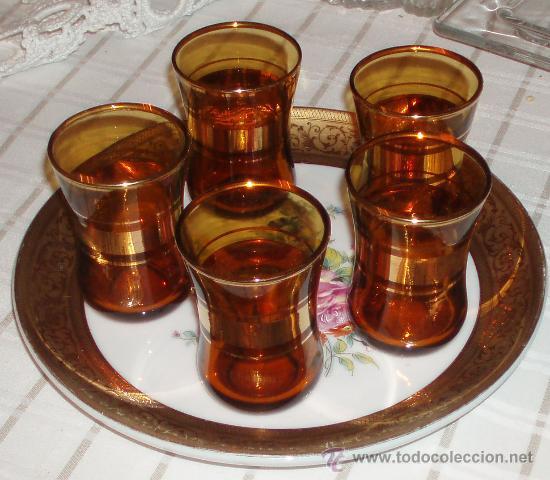 5 vasos de te turcos grabados en oro comprar objetos for Vasos de te