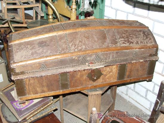 Baul madera y piel comprar ba les antiguos en - Baules antiguos de madera ...