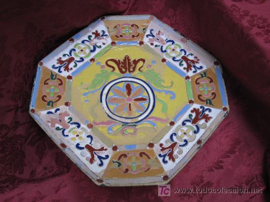Antigüedades: GRAN PLATO DE TRIANA SIGLO XIX CUERDA SECA. - Foto 2 - 26468219