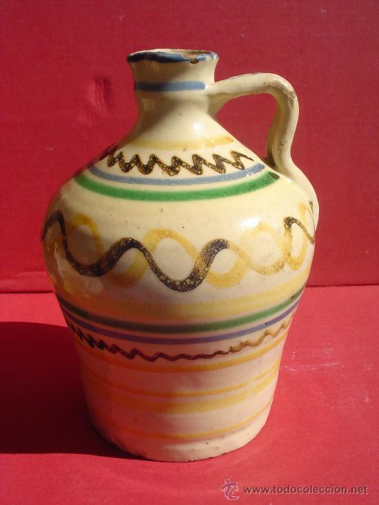 Antigüedades: Alcuza- Jarra en ceramica de Puente del Arzobispo. Toledo. S.XIX. - Foto 2 - 31961565