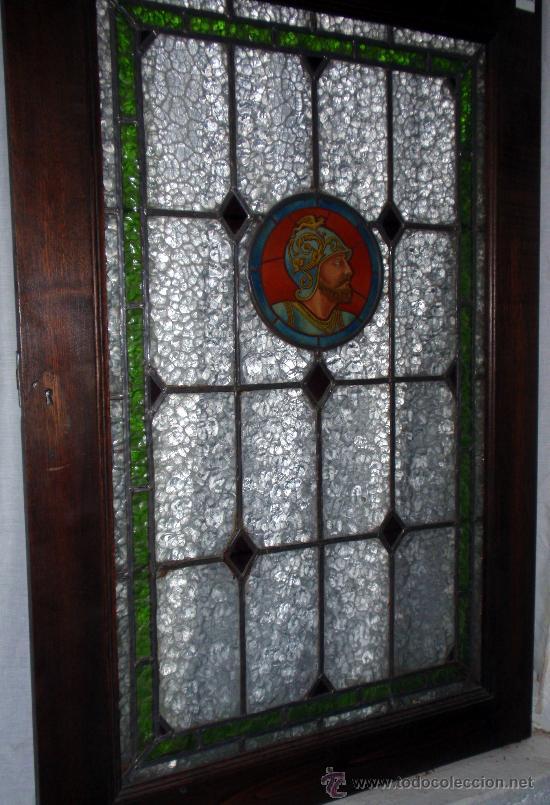 Antigüedades: Antigua Vidriera emplomada y marco puerta de madera. Medida 70x106 cm - Foto 2 - 25506721