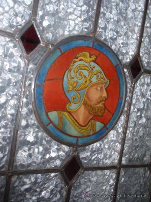 Antigüedades: Antigua Vidriera emplomada y marco puerta de madera. Medida 70x106 cm - Foto 3 - 25506721