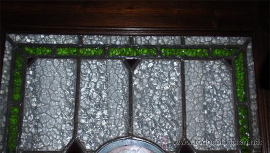 Antigüedades: Antigua Vidriera emplomada y marco puerta de madera. Medida 70x106 cm - Foto 4 - 25506721