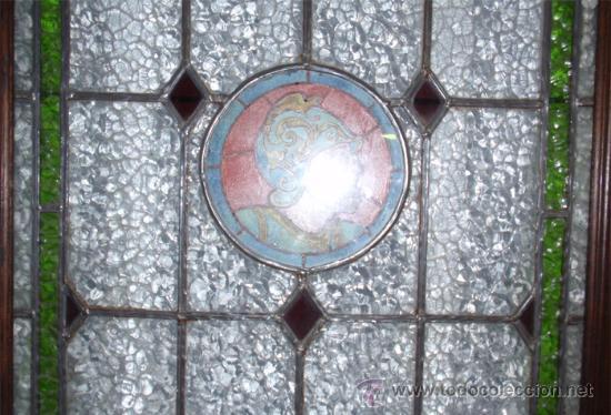 Antigüedades: Antigua Vidriera emplomada y marco puerta de madera. Medida 70x106 cm - Foto 5 - 25506721