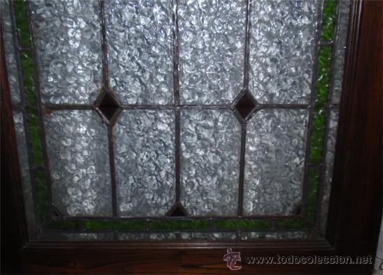 Antigüedades: Antigua Vidriera emplomada y marco puerta de madera. Medida 70x106 cm - Foto 6 - 25506721