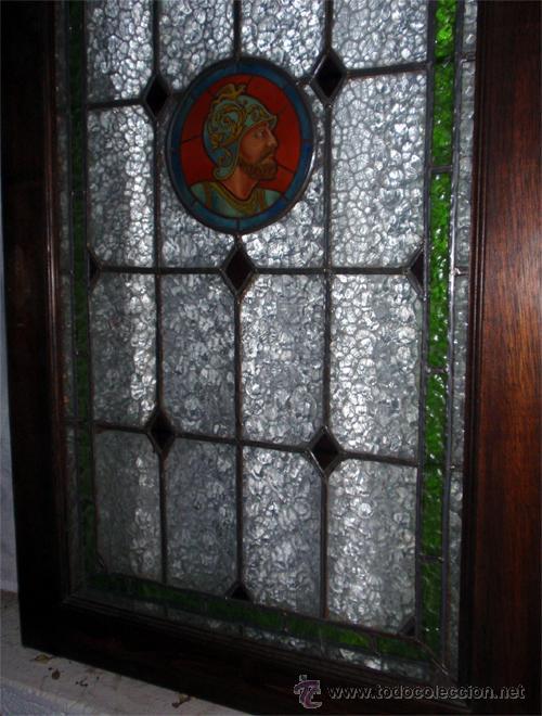 Antigüedades: Antigua Vidriera emplomada y marco puerta de madera. Medida 70x106 cm - Foto 7 - 25506721