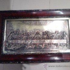 Antigüedades: CUADRO ULTIMA CENA DEL AÑO 1905 (MARCO DE RAIZ ORIGINAL Y CUADRO DE METAL PLATEADO). Lote 27535230